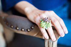 Jewelry succulents, rings, anillo de suculentas, Passion flower To Wear, moda verde, fashion ecológico, Etsy www.PiensaenChic.com