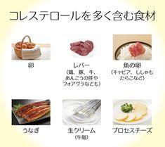 コレステロールを多く含む食品は、「卵」「レバー(鶏・豚・牛、あんこうの肝やフォアグラなども)」「魚の卵(キャビア、ししゃも、たらこなど)」「うなぎ」「生クリーム(牛脂)」「プロセスチーズ」などになります。