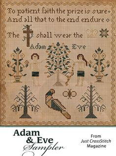 Adam & Eve Sampler from the May/Jun 2016 issue of Just CrossStitch Magazine. Order a digital copy here: https://www.anniescatalog.com/detail.html?prod_id=131294