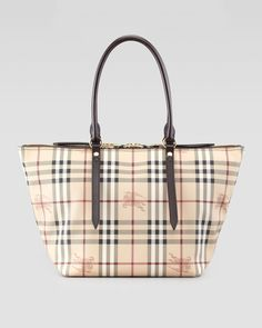 Gojee - Small Two-Way Zip Check Tote Bag by Burberry