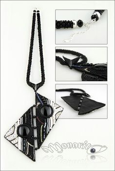 Ying - yang bead embroidered necklaces