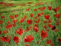 Poppies beautiful mixed media work by Arleen Wild