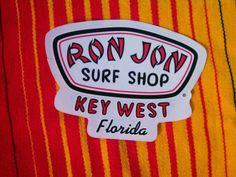 Ron Jon Surf Shop KEY WEST Florida Sticker Decal Surfing Surfer Surf Stickers, Ron Jon Surf Shop, Key West Florida, Really Cool Stuff, Cool Cars, Surfing, Cuba, Hot Rods, Decals