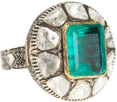 ShopStyle: Munnu Emerald & Diamond Ring