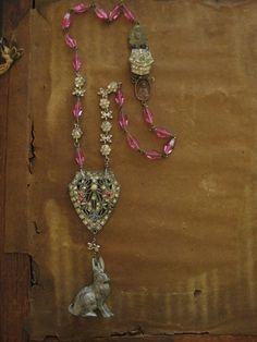 Mr. Rabbit antique bunny deco rhinestone rosary by RedbirdJewelry