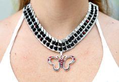 Red Rhinestones Butterfly Shape Bijou# Black Satin Ribbon Pop Tab Necklace