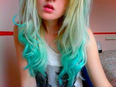 Dirty Blonde Hair With Blue Ombre Diy turquoise ombre hair dye