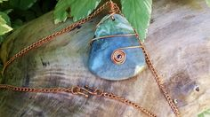 $35.10 Green Earth Jasper Wire Wrapped Pendant by BlueWorldTreasures