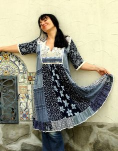 India design dress tunic top. Made from recycled India clothing. Wmbroidered. Remade, reused and recycled. Very comfortable. Hippie boho bohemian style. One of a kind. Size: M-L (european 38-40) Bust line max 42 inches (106 cm) Hips line even 50 inches (127 cm) Length - 43 inches (109 cm)
