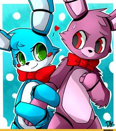 Five Nights at Freddy's - Toy Bonnie and Bonnie ( I don't think their in love I think they're pretending to get revenge on each other, I mean look at their eyes, those...eevvviilll...eyes )