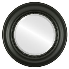 this heritage style matte black framed round mirror blends well with retail home or office