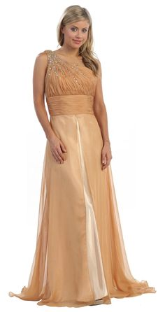 Long Gold Military Gown One Strap Empire Waist Satin/Chiffon Dress 177,99$
