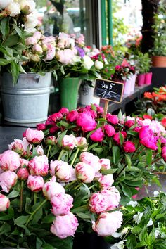 peonies at Ternes metro stop My personal favorite flower in the world!!