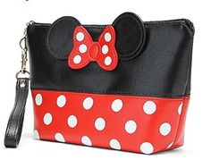 New Fashion Dot Bow Portable mickey Makeup Bag PU Travel Organizer Cosmetic Bag Travel Trace Excellent Quality Wash Toiletry Bag Cosmetic Storage, Travel Cosmetic Bags, Bag Storage, Makeup Storage, Travel Bags, Cosmetic Pouch, Mickey Mouse, Minnie Bow, Toiletry Bag