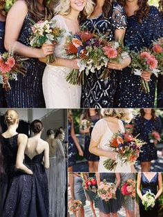 Navy Sequined Bridesmaid Dresses