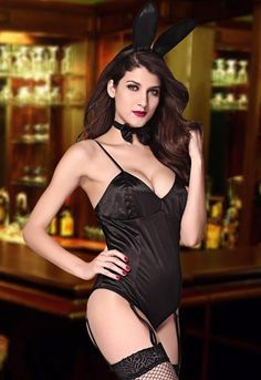 Sensual Black Teddy Playboy Bunny Halloween Roleplay Costume Set 8743 #CompleteCostume