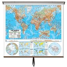 The world Advanced physical Classroom wall map features an innovative design centered on the Pacific Ocean with intricate shaded relief and depicting varying ocean depths. Major mountain ranges, peaks, drainage systems, and deserts are named. Time zones are an added feature. Using a Mercator projection, this high quality map is designed for grades 6-12 meeting both state and national curriculum standards #Globes #Education #geography #teaching #classroommaps #classroomglobes