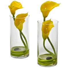 """Double Calla Lily w/Cylinder (Set of 2)  - """"Natural Beauty in a Glass"""" – that's what we call this incredible Calla Lilly. With stems coiled symmetrically, the soft petals reach skyward, as if rising to greet the sunshine above. But being a recreation, these never need light or water, and will stay looking fresh and beautiful for years to come. With an included glass vase this set of 2 is the perfect decoration for both home and office. Number of Trunks: NA Number of Flowers: NA Number of Lea"""