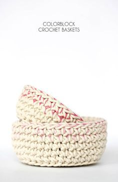 Color Block Crochet Baskets - Free Pattern