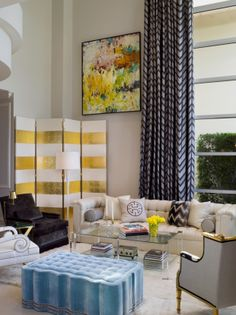 Luxuriate in the Living Room. A striped white and gold screen. Interior Designer: Robert Passal.