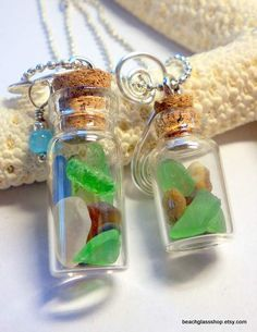 little bottles of sea glass necklace
