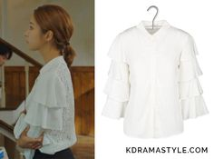 Yoon So Ah (Shin Se Kyung 신세경) wears a white blouse with ruffled sleeves and a white lace back in Episode 16 of Bride of the Water God. It is the Claudie Pierlot Candy ruffle-sleeve shirt with lace back in Ecru. White Ruffle Blouse, White Lace, Korean Fashion, Women's Fashion, Fashion Outfits, Bride Of The Water God, Shin Se Kyung, Lace Back, Ruffle Sleeve