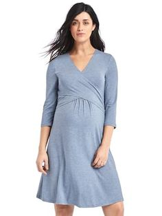 Maternity solid three-quarter sleeve wrap dress | Gap