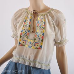 1940's Blouse // Vintage 30s - 40s Silk Embroidered Peasant Blouse