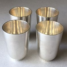 Georg Jensen Set of 4 Sterling Silver Art Deco Cups No. 825A by Sigvard Bernadotte