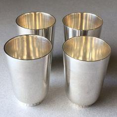 Georg Jensen Set of 4 Sterling Silver Art Deco Cups No. 825A by Sigvard Bernadotte