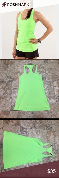 Lululemon cool racerback Neon green classic cool racerback in excellent condition. lululemon athletica Tops Tank Tops