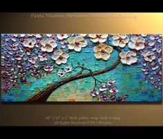 Tree Painting painting abstract painting large painting from Paula Nizamas blue,purple and black impasto ready to hang