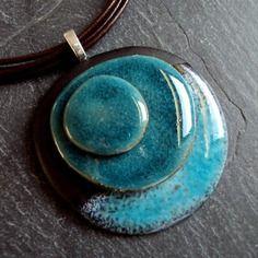 Ceramica pendente / serie di schiuma / ovale / turchese / girocollo