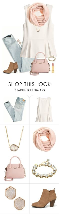 """""""preppy cute school outfit"""" by lilypackard ❤ liked on Polyvore featuring American Eagle Outfitters, H&M, Jules Smith, J.Crew, Kate Spade, Kendra Scott, Qupid, women's clothing, women and female"""