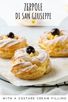 Zeppole Di San Giuseppe are traditional Italian pastries filled with a creamy custard and prepared every March 19 for the Feast of Saint Joseph's Day. Italian Pastries, Italian Desserts, Easy Desserts, Italian Recipes, Dessert Recipes, Gourmet Desserts, Italian Cookies, French Pastries, Plated Desserts
