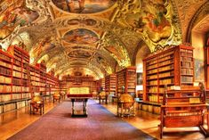 Such A Beautiful Library (Strahov Monastery, Prague, Czech Republic) Beautiful Library, Dream Library, Future Library, Library Art, Library Design, Vintage Library, The Places Youll Go, Places To See, Beautiful Buildings