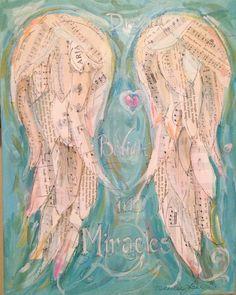 Angel Wings Mixed Media Painting  called Believe by grafittigirl, $100.00: