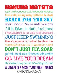 Disney Inspirational Movie Quotes Subway Art, 11x14 Multi-Colored Digital Print