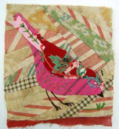 Appliquéd bird with embroidery on vintage crazy quilt scrap : Mandy Pattullo