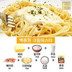 요즘 핫한 '백종원 파스타' 소스 레시피 총모음! : 네이버 블로그 Sauce Recipes, Cooking Recipes, K Food, Korean Food, Food Plating, I Love Food, No Cook Meals, Italian Recipes, Easy Meals