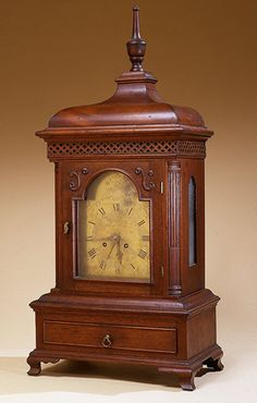 Charles Young  Chippendale walnut bracket clock with drawer  Chambersburg, Pennsylvania, circa 1760