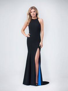 Val Stefani | Style 3239RE | Beautiful Jersey Jewel Neck Fit and Flare Prom Dress