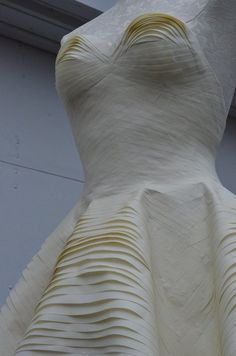 Masking Tape Dress with sculptural layers & textures - alternative materials; sustainable art; repurposed fashion