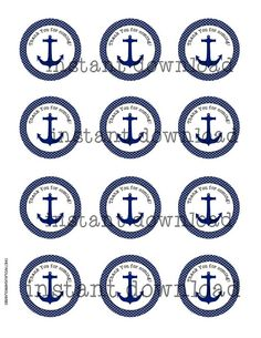 INSTANT Nautical Theme Thank You Tag/Sticker by TwoLaughingLambs, $2.50