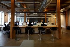 Open plan office with stools! #openplanoffice Cubicles.com