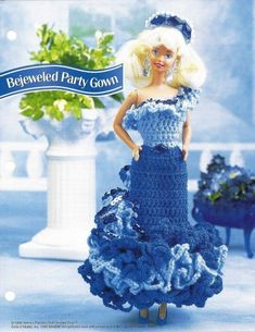 Barbie Party Dress, Gown Annies Crochet Pattern Fashion Doll Clothes pattern