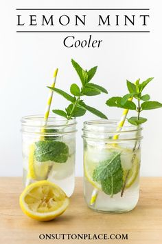 This Lemon Mint Cooler #Summer #Drink is perfect for a crowd or for just a few. It's fast, refreshing and so pretty!
