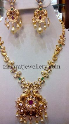 Jewellery Designs: Fancy CZ necklace 42 Gms
