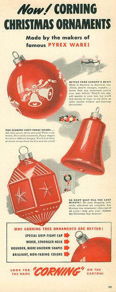 Vintage Christmas ad - Corning Christmas ornaments