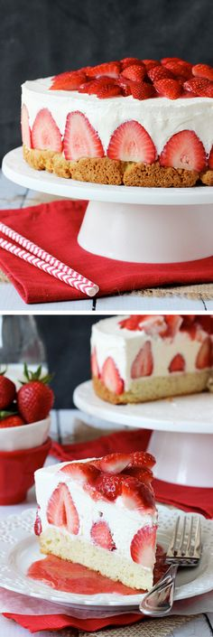 Strawberry Shortcake Cheesecake - shortcake topped with strawberries, no bake vanilla cheesecake and whipped cream! Driscoll's Berries #StrawShortcake